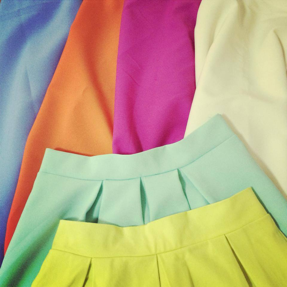 fustite colorate de vara, spring summer skirts, colour, fuchsia, mint, neon yellow, ivory, bleu ciel, tangerine