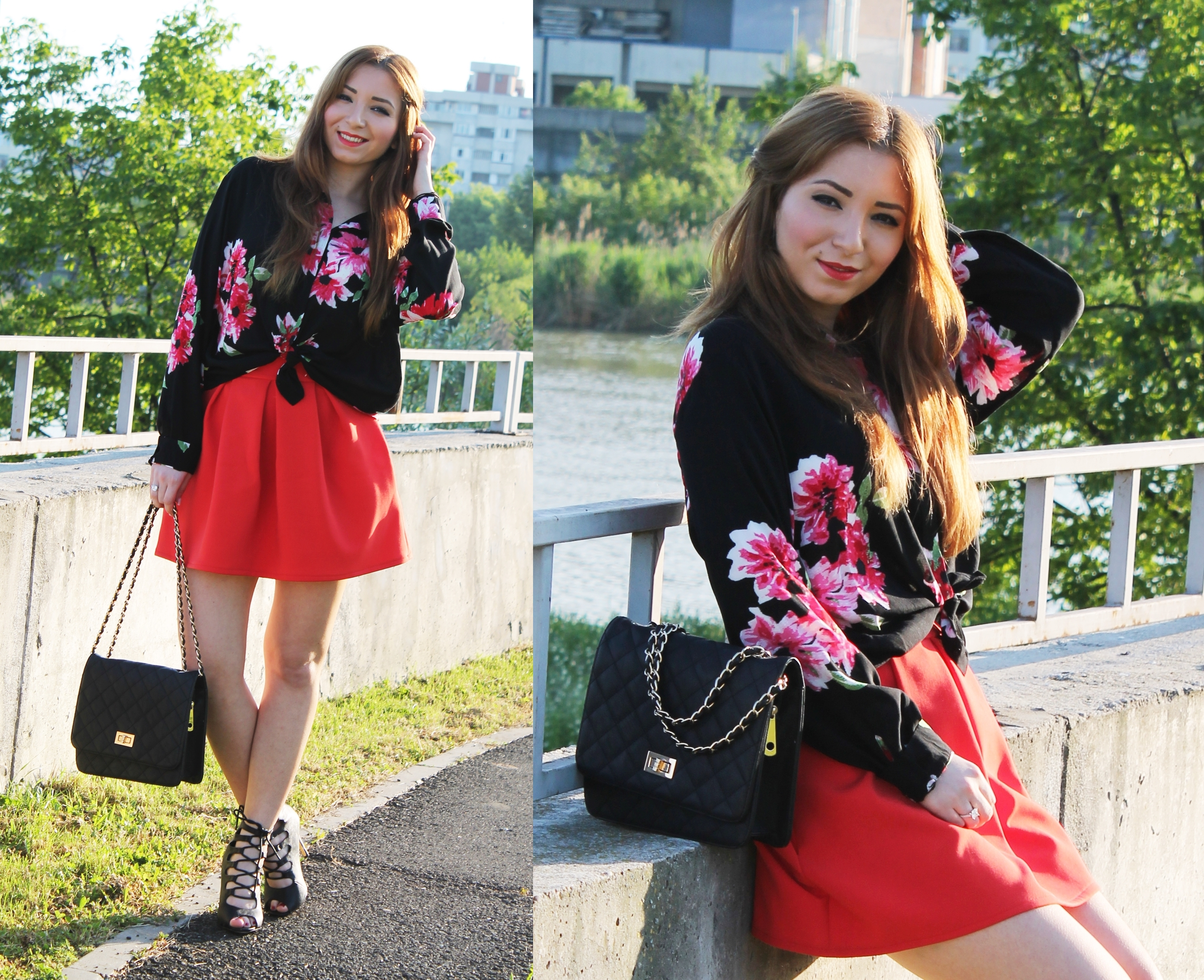 look book red skirt and floral shirt