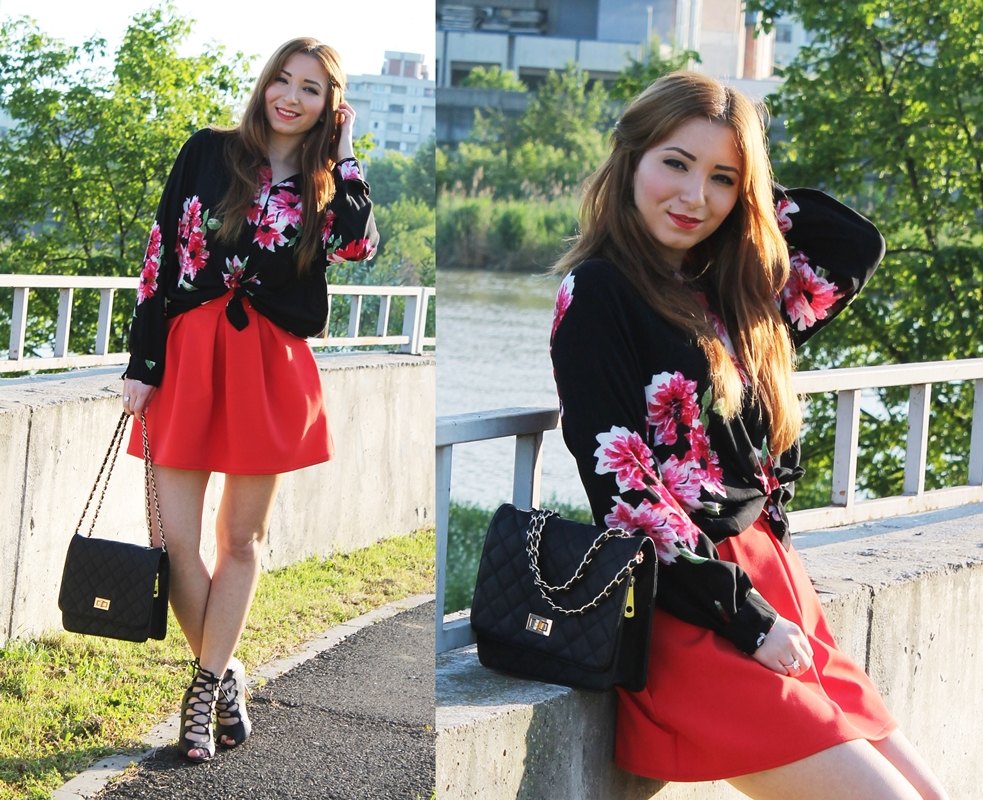 look book red skirt and knotted  floral shirt
