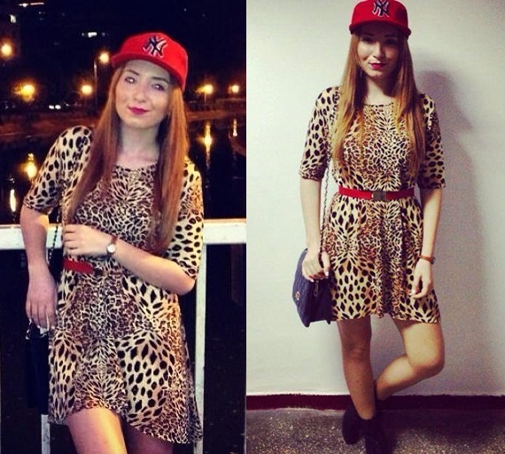 leopard print dress, red ny cap, andreea design