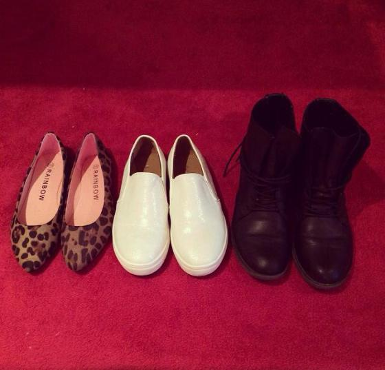 shoes, trip, vacation, leopard flats, white slip-on, black boots