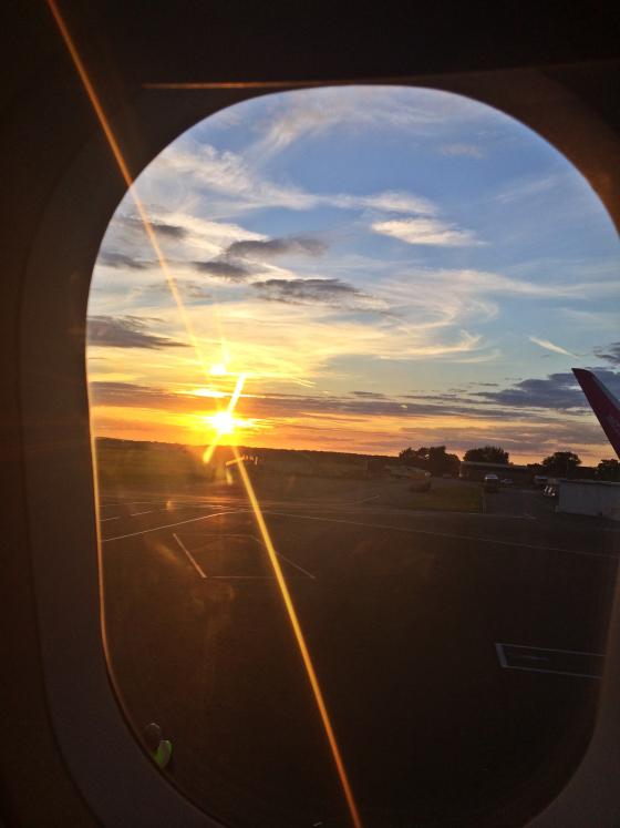 sunset, airport