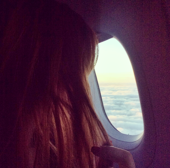 up, in the air, fly, clouds, girl, airplane