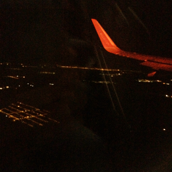 city lights, night, airplane, city above, photography