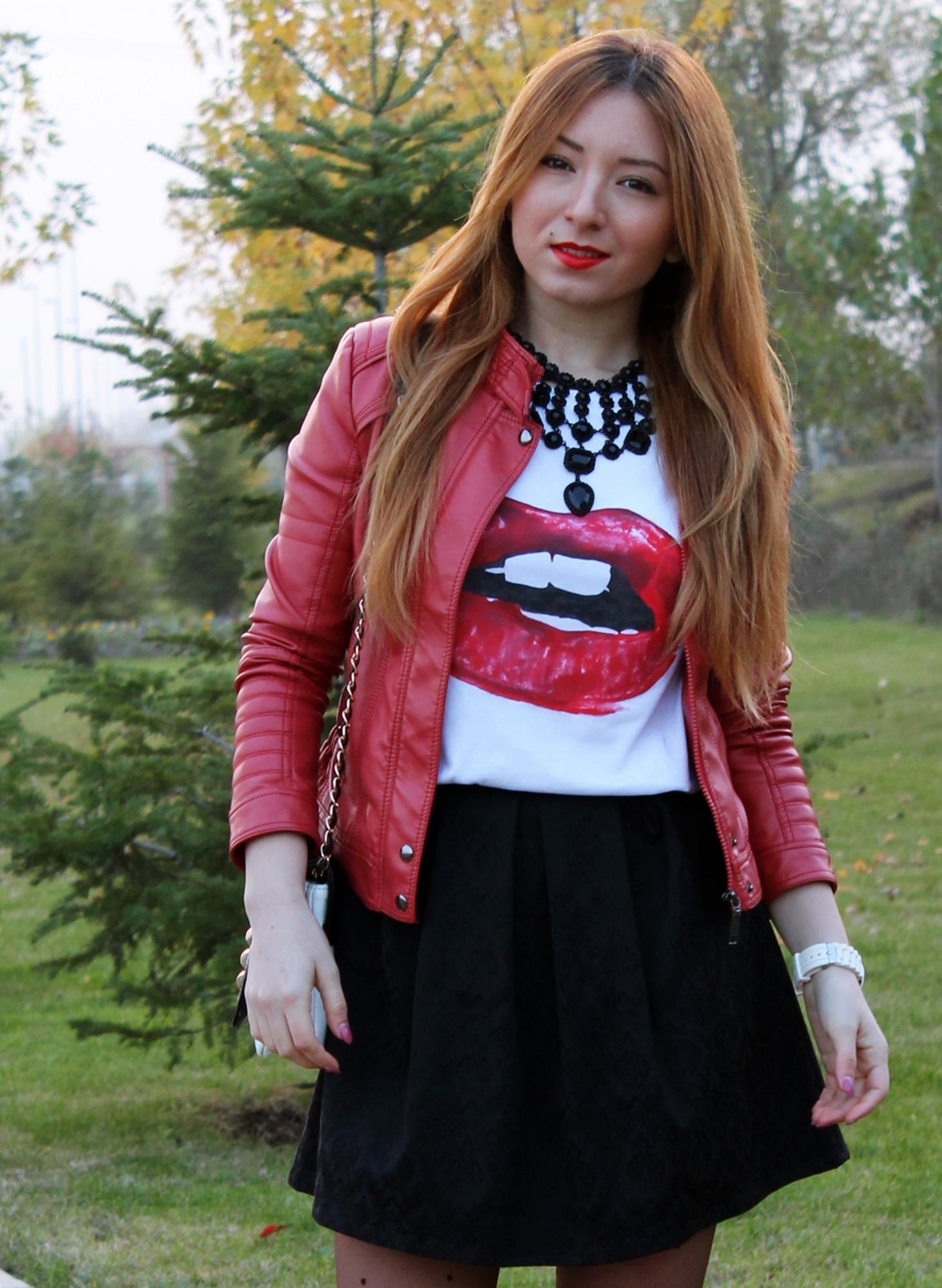geaca rosie piele cum purtam