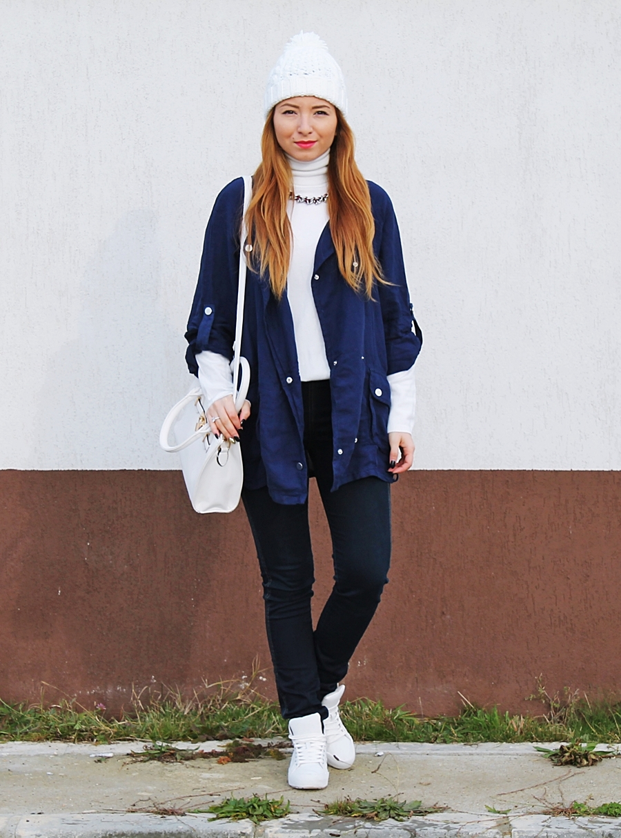 tinuta cu blugi toamna iarna blogger de moda romania