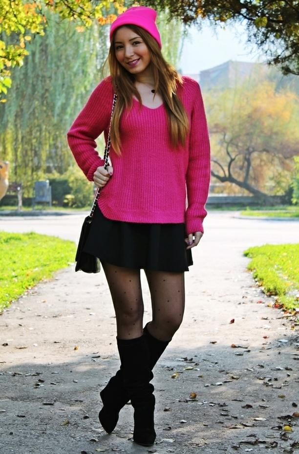 pulover cu fusta tinuta blogger de moda romania idei