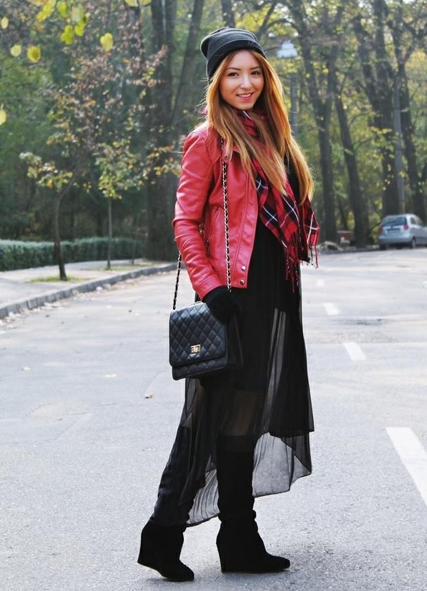 rochie vaporoasa neagra street style