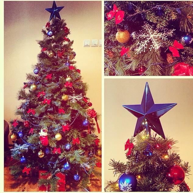 brad de craciun rosu albastru si auriu, aranjament , christmas tree inspiration