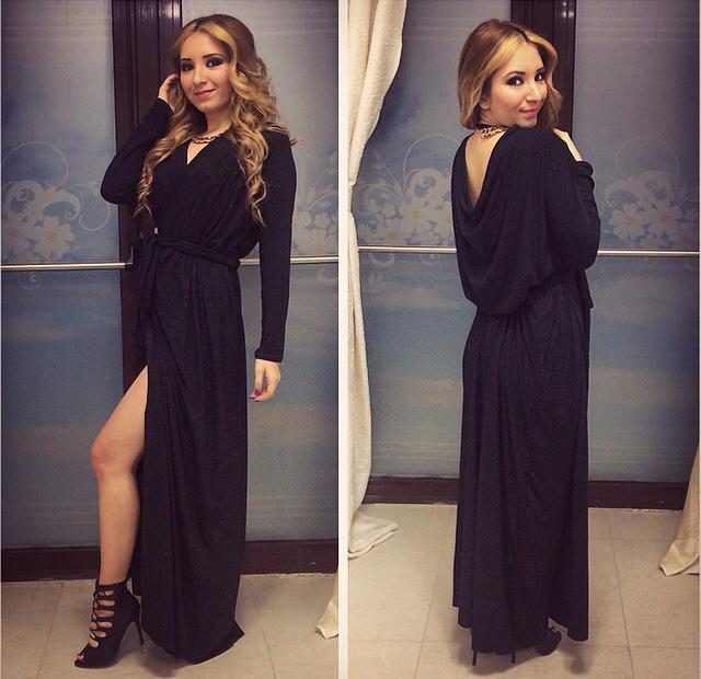 rochie eleganta revelion neagra lunga parte peste parte