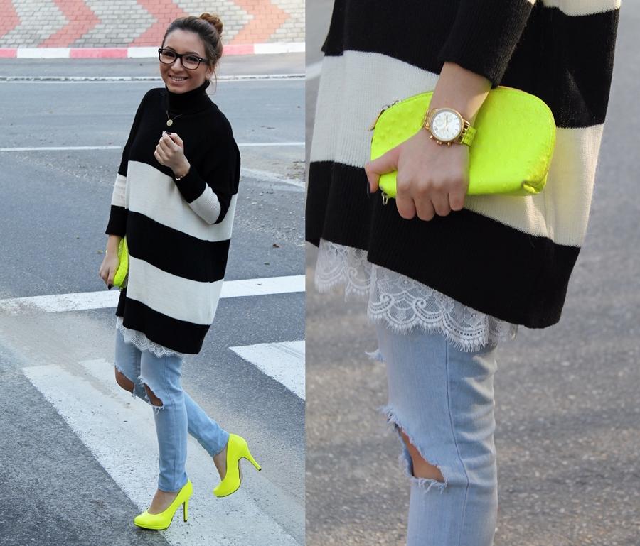 tinuta cu pantofi galben neon, pulover zara dungi alb si negru, blugi rupti, ripped jeans with neon shoes street style