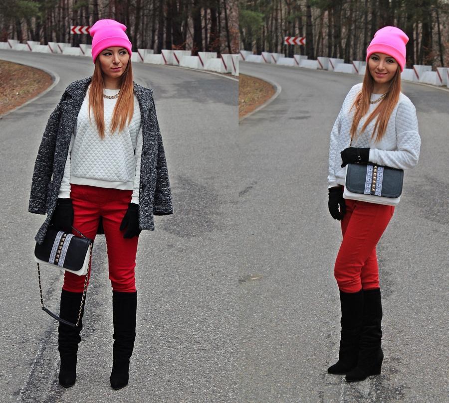 cum purtam cizmele, tinuta de iarna, palton gri oversized cum purtam, caciula roz neon