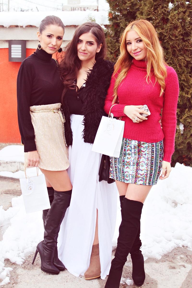 Tinuta cu fusta iarna, cizme peste genunchi, fusta cu paiete, pulover, fusta cu vesta de blana