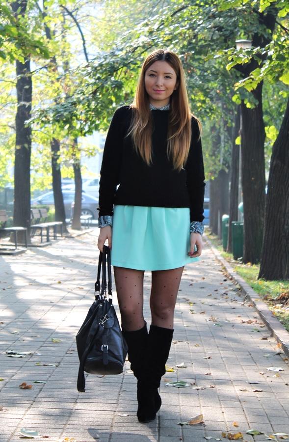 tinuta fusta cu pulover, fusta andreea design verde mint cu pliuri, camasa cu pulover tinuta, cum purtam, cizme pana la genunchi negre