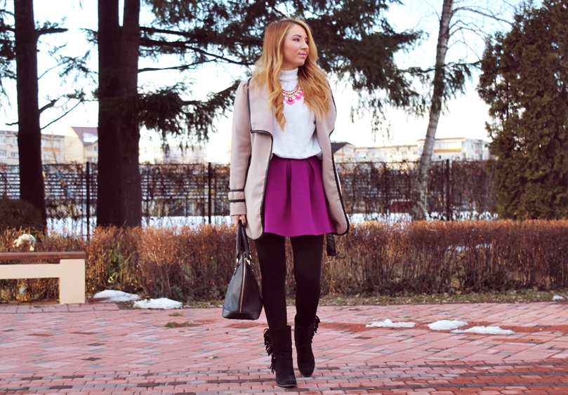 Street style camel coat, purple skirt with white turtleneck, black boots, pinterest