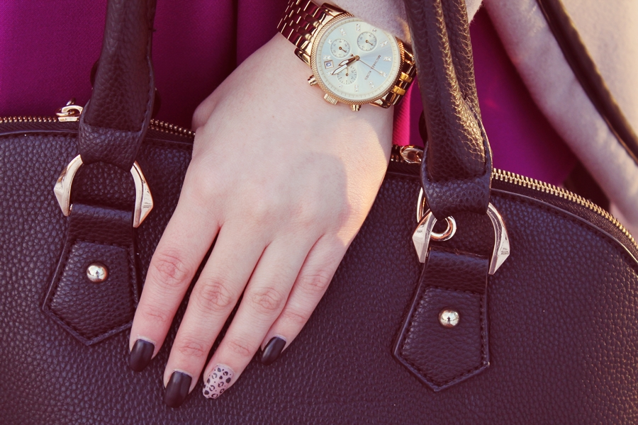 Ceas Michael Kors auriu, Watch Chronograph Ritz, Black nails, Unghii cu gel negre mate leopard
