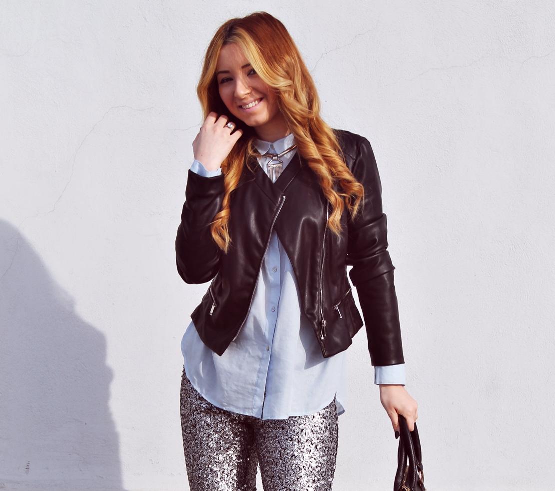 Andreea Design, tinuta cu geaca de piele neagra si camasa bleo