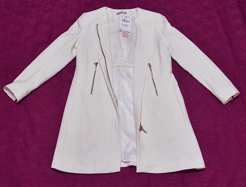 Palton alb jacheta