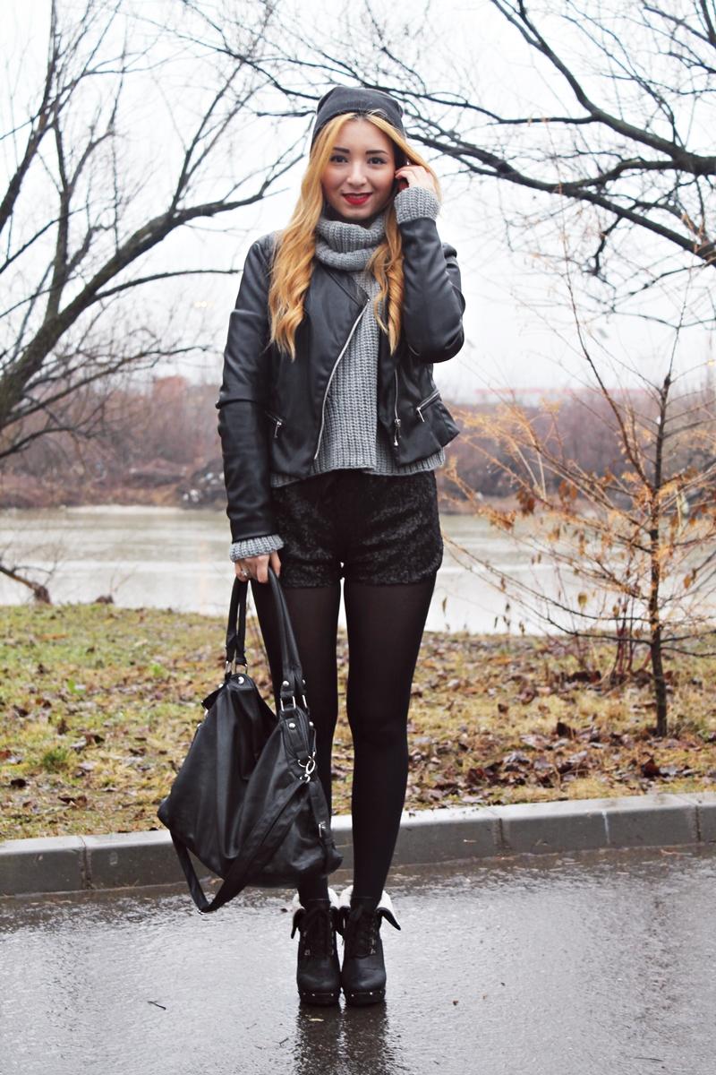 Andreea Design, tinuta all black, negru cu gri