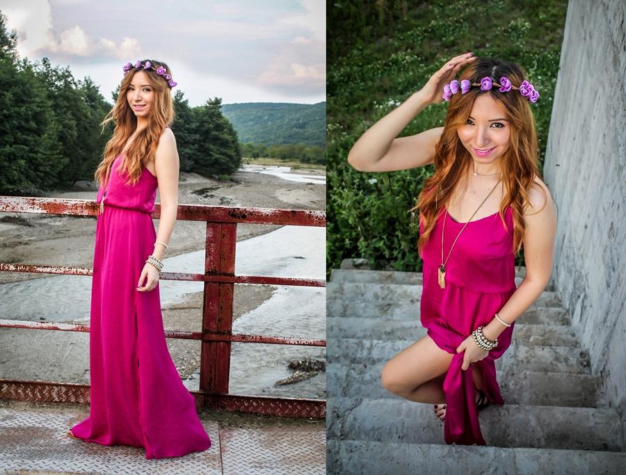 rochie lunga roz fuchsia, coronita cu flori roz, tinutele anului 2014 andreea design blogger de moda