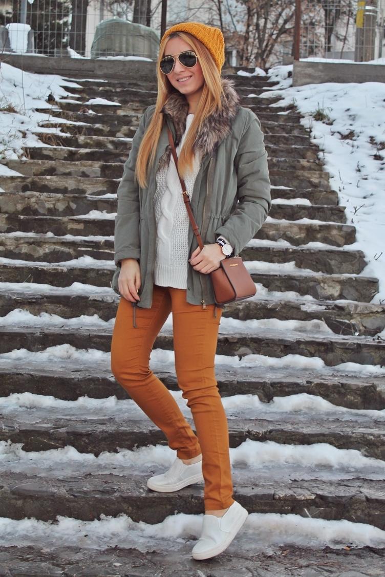 tinuta de iarna cu parka si galben mustar, cum purtam, blogger moda romania, arges, pitesti