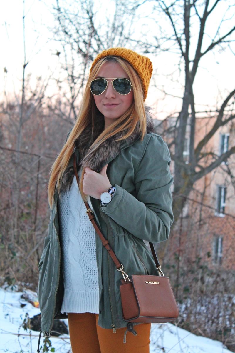 Tinuta de iarna, cum purtam parka, geanta michael kors crossbody, brown, street style, bag