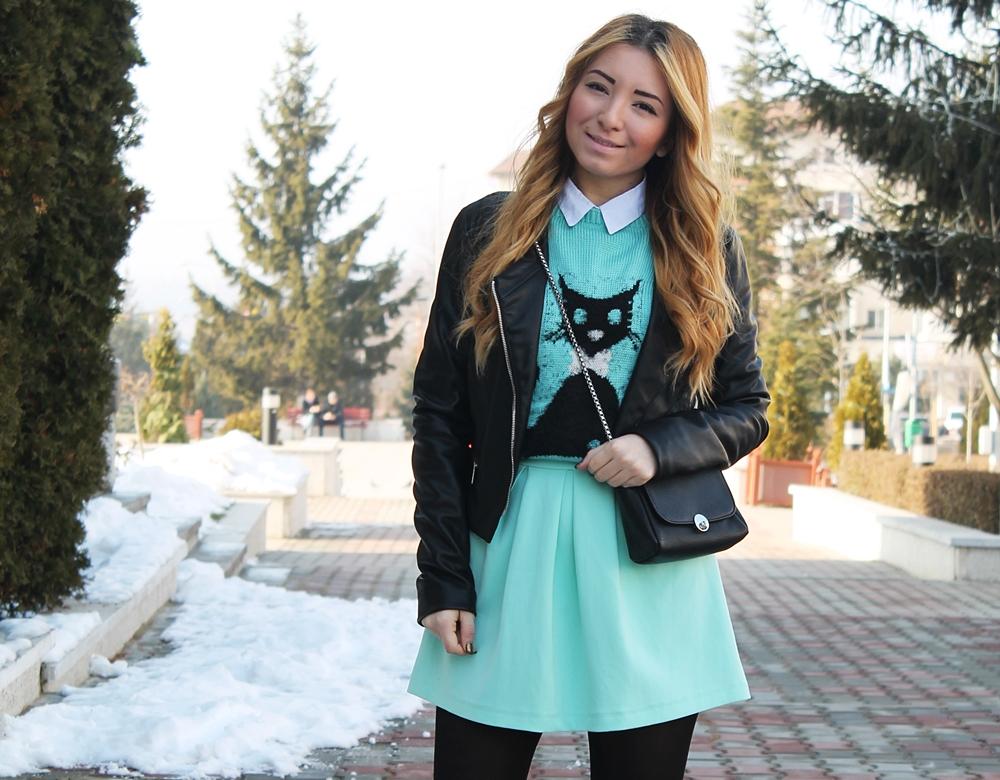 Tinuta geaca neagra piele, blogger moda, arges, mioveni