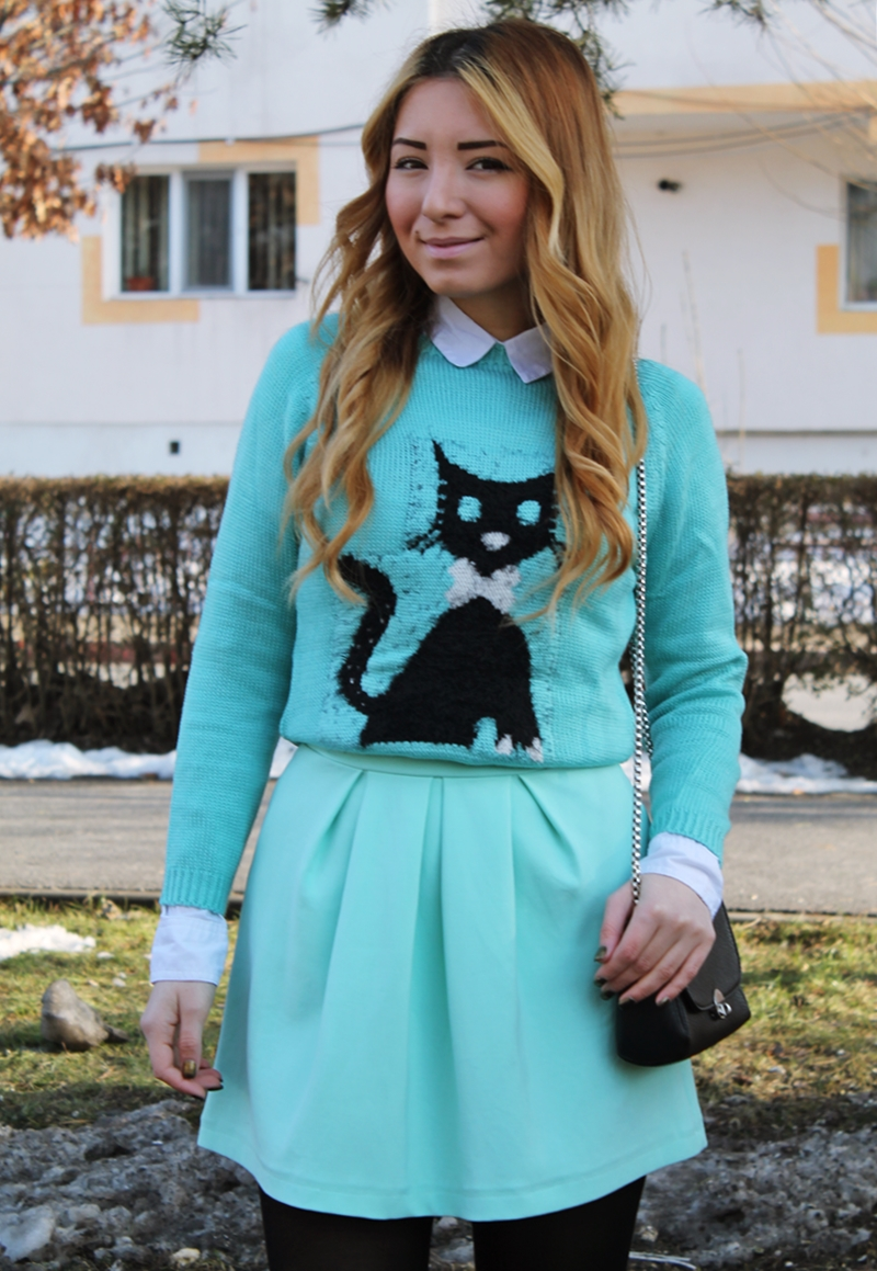 Fusta cu pliuri Andreea Design, pulover cu camasa, Pleated skirt, sweater with shirt, cat, kitty, sweater, street style, outfit, mint green
