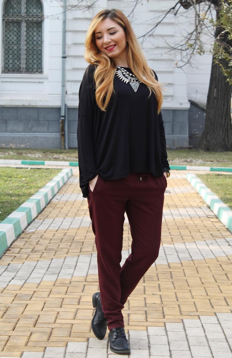 Tinuta de zi, blogger, moda, Pitesti, Arges, marsala, pantaloni lejeri, sport, rock, casual, tendinte, 2015
