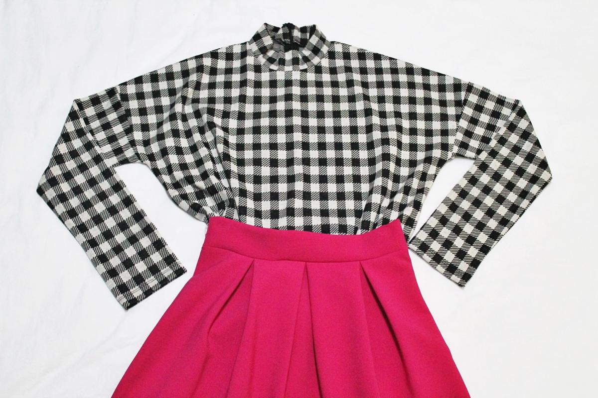 bluza carouri cu fusta andreea design roz