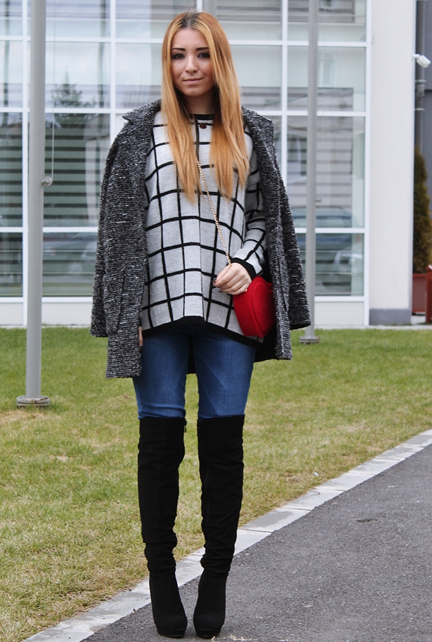 Street style Andreea Design: over the knee boots with jeans, ovsersized coat, red heart bag, checkered sweater