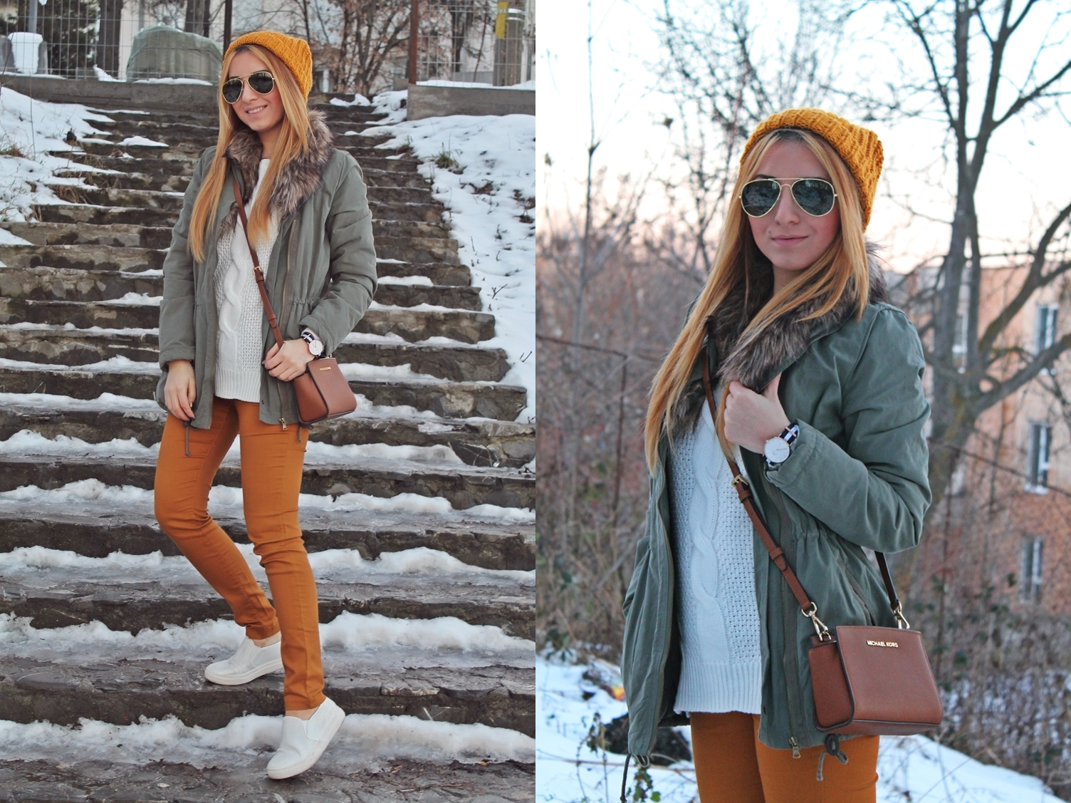 lookbook, andreea design, street style, parka, yellow, mustard, pants, white, sweater, sunnies, michael kors, bag, crossbody, winter, outfit