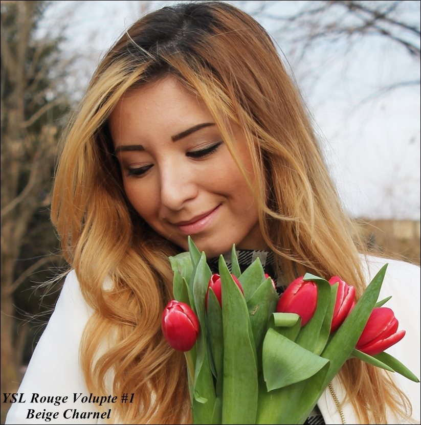 Ruj YSL Rouge Lipstick Volupte shade 1 Nude beige, beige charnel