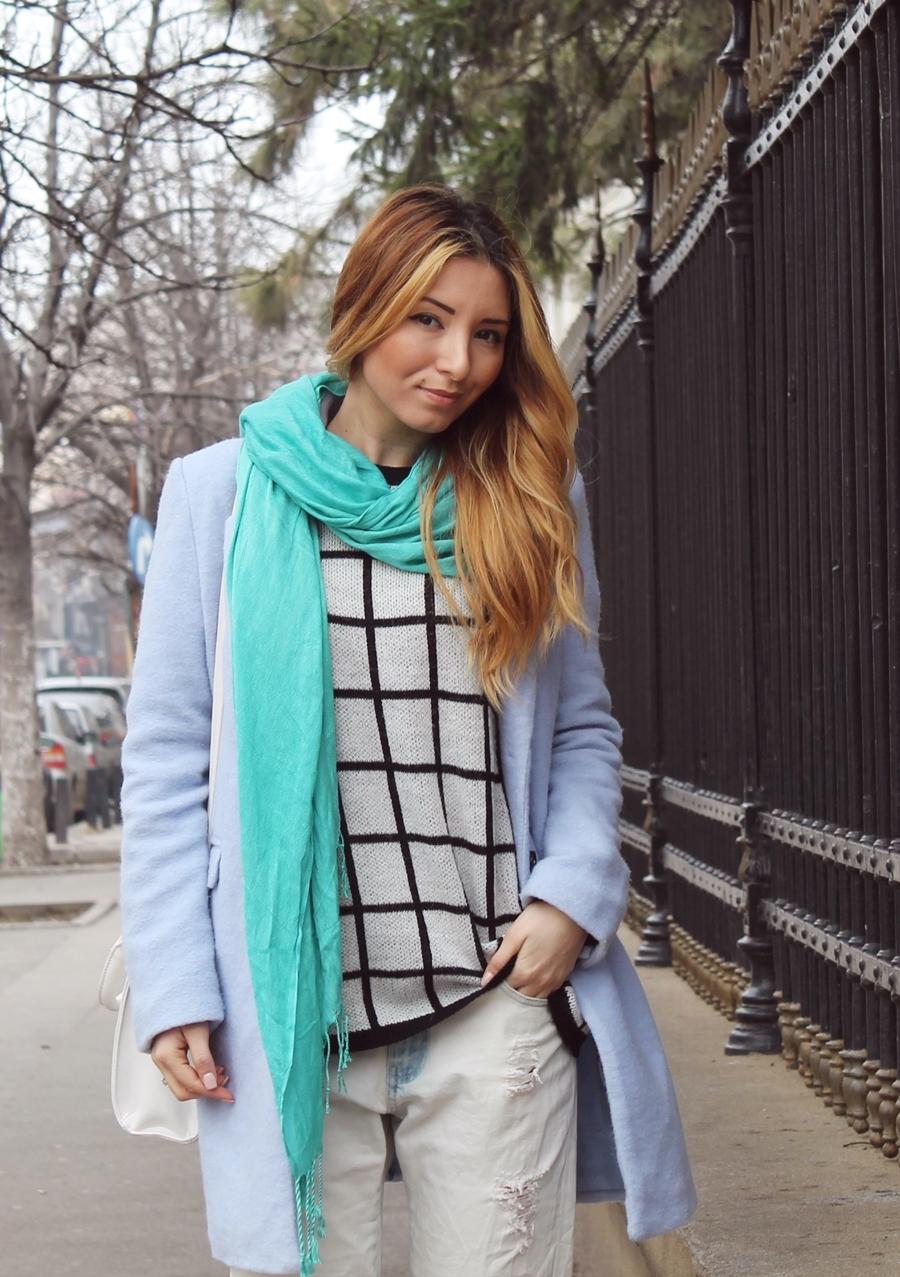 Pasteluri, palton lana, bershka, bleo, verde menta, carouri, tinutna, primavara, iarna, blogger