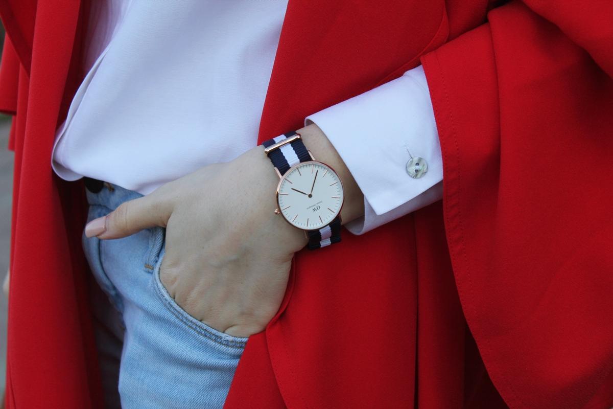 Ceas Daniel Wellington dungi, albastru cu alb, blogger moda