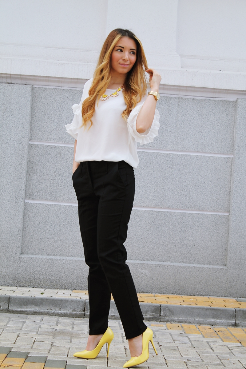 Street style Zara black office pants, yellow shoes , white blouse, michale kors watch