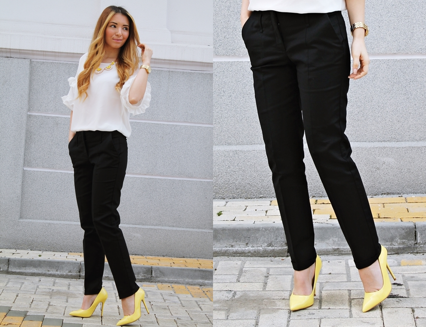 lookbook black white and yellow outfit