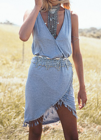rochie gri parte peste parte