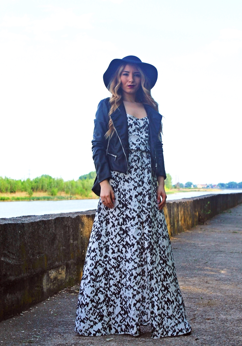 maxi dress, street style, blogger, fashion, maxi dress with hat and jacket