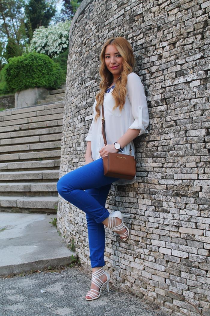 Andreea Ristea blog - tinuta de primavara vara, cum purtam albastru electric: pantaloni Pieces Emma Blue via kurtmann
