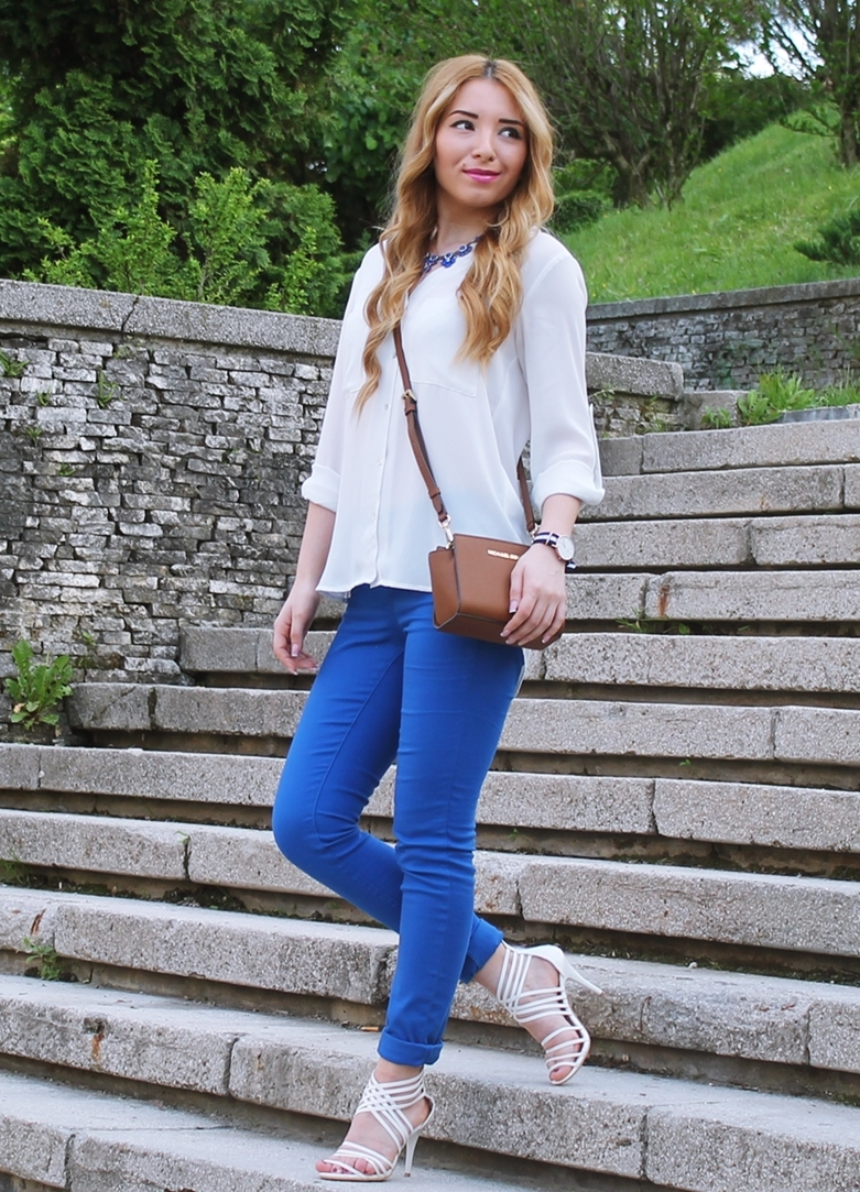 street style royal blue pants