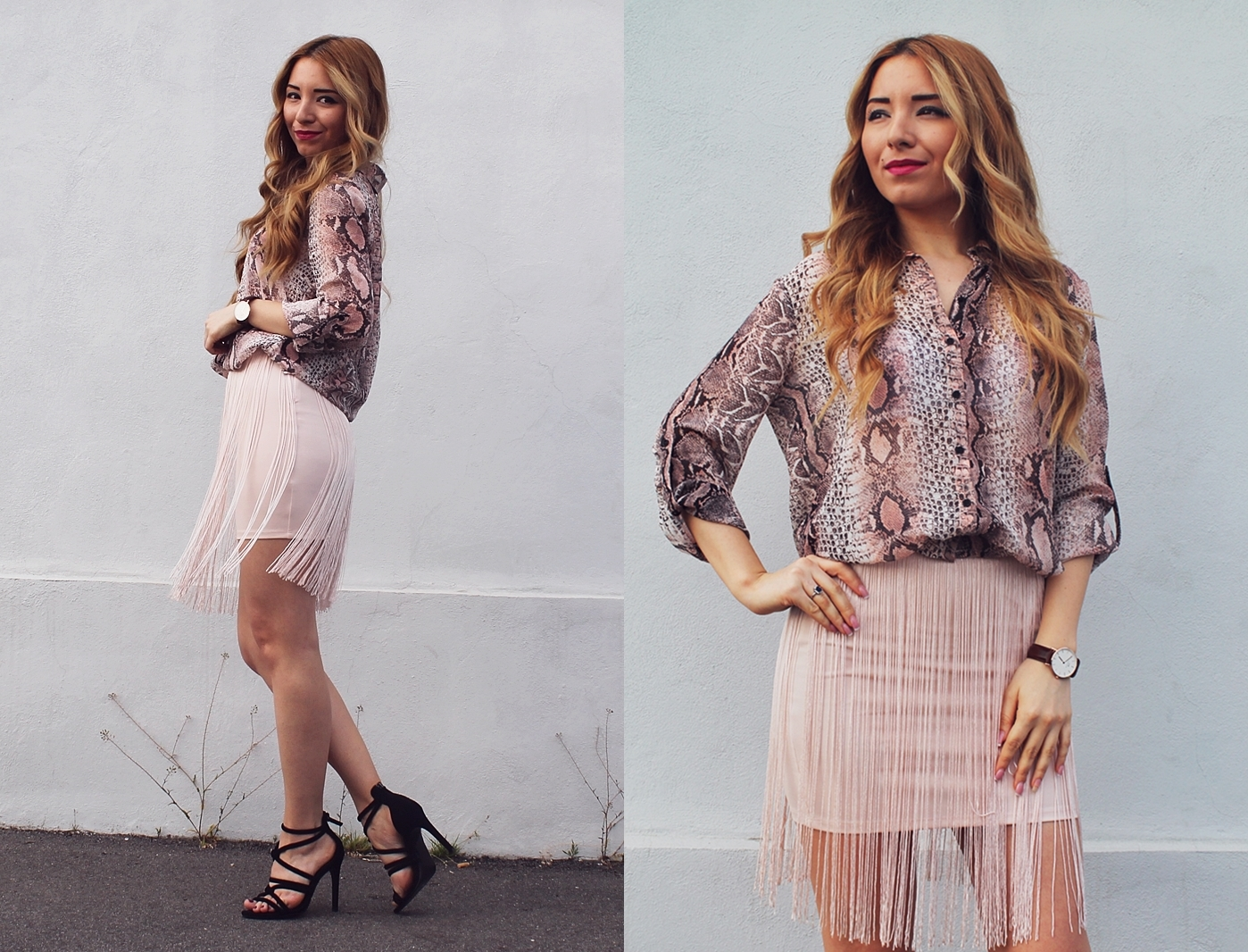 lookbook andreea design, nude outfit, fringe skirt