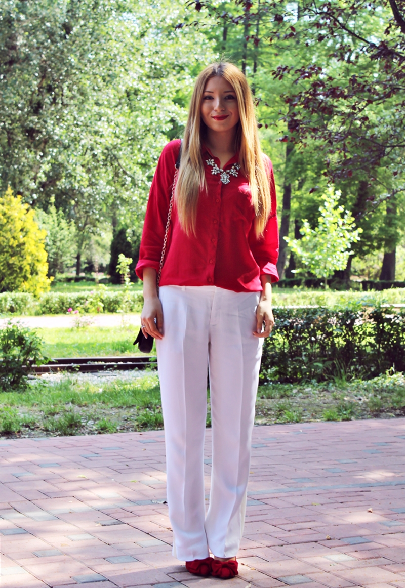 Street style loose white summer pants, red shirt, red ribbon shoes