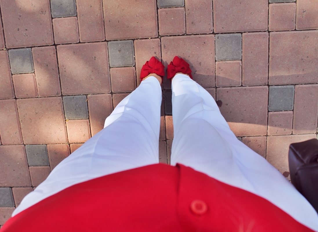 pantofi rosii cu fundita garkony shoes