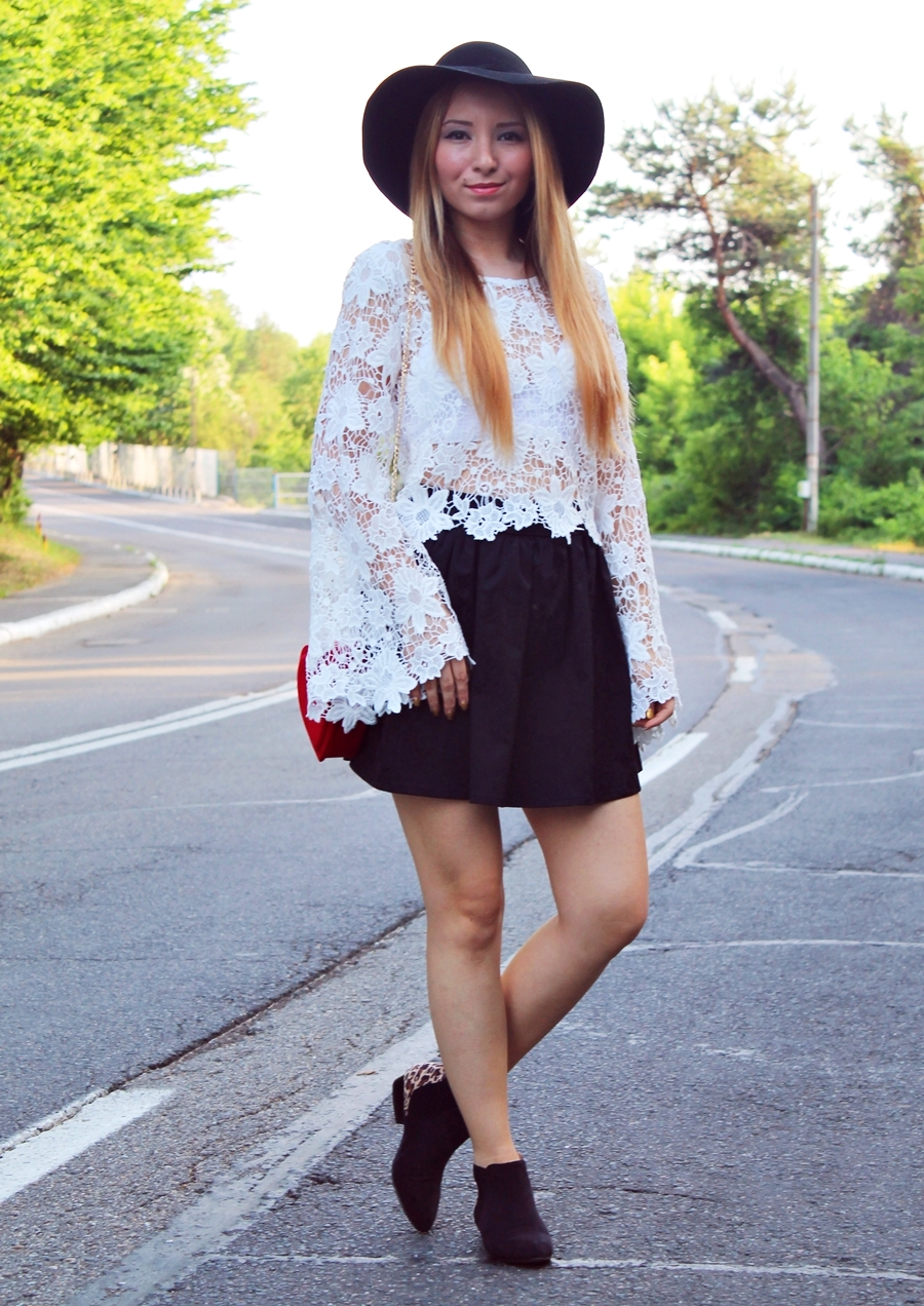 street style, white lace blouse, black short skirt, black leopard ankle boots, hippie look, summer look, red heart bag, fashion blogger, andreea design, andreea ristea