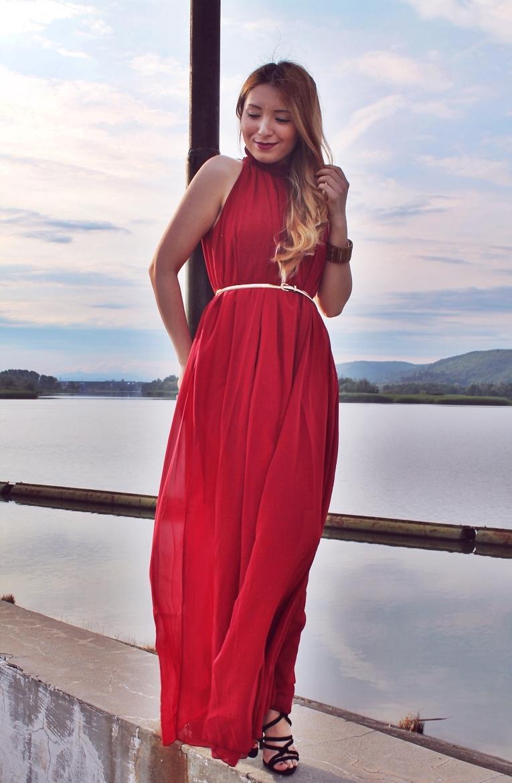 Rochie lunga eleganta de seara - rosu burgundy