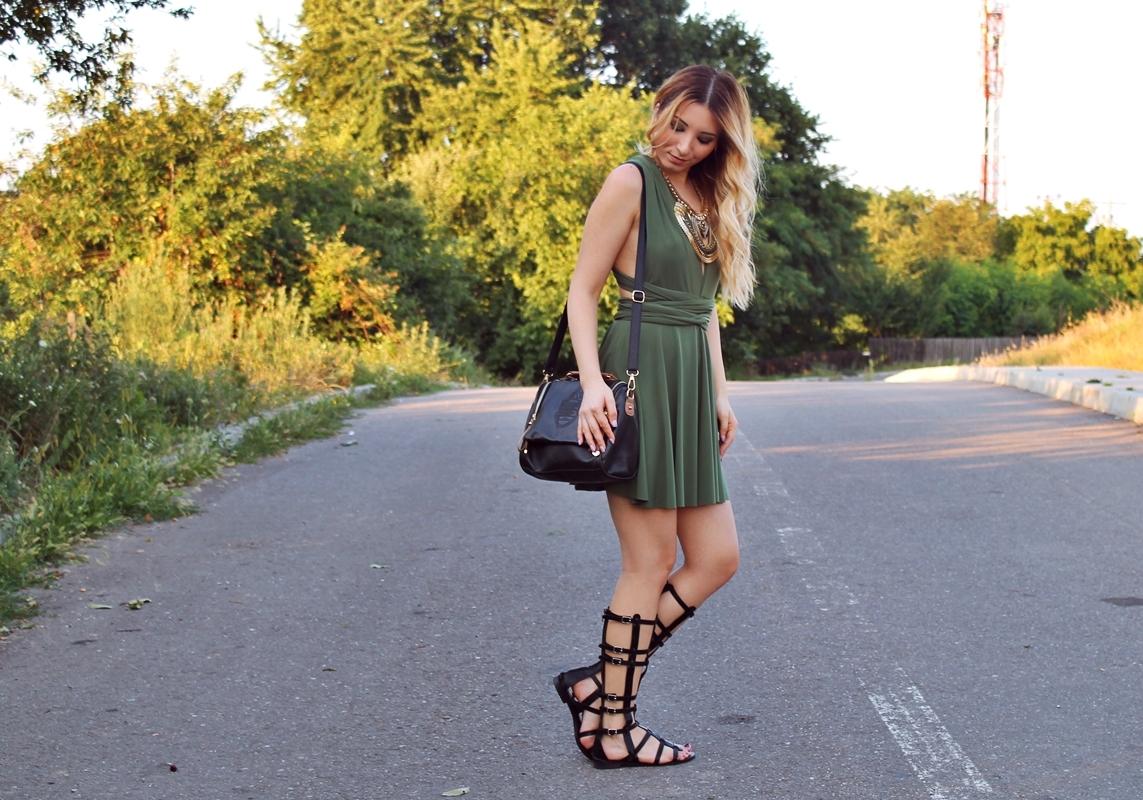 Sandale gladiator negre - Tinuta de vara