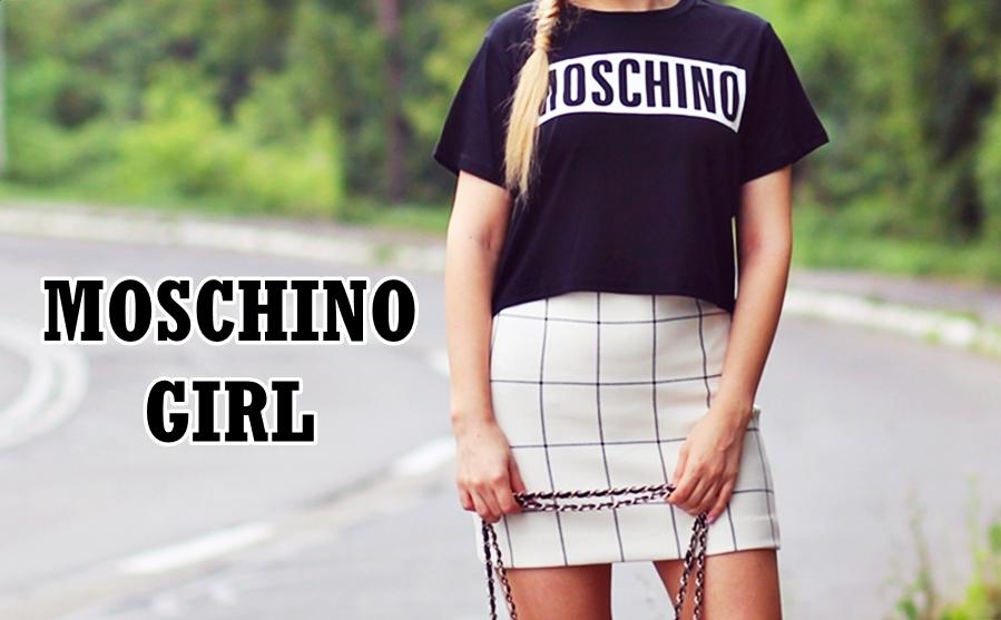 moschino girl black  t-shirt