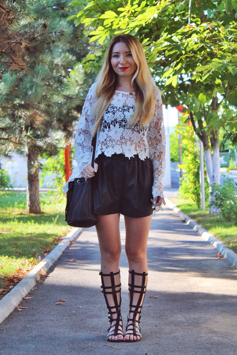 Street style white lace blouse, leather short pants, gladiator sandals - summer look, ootd