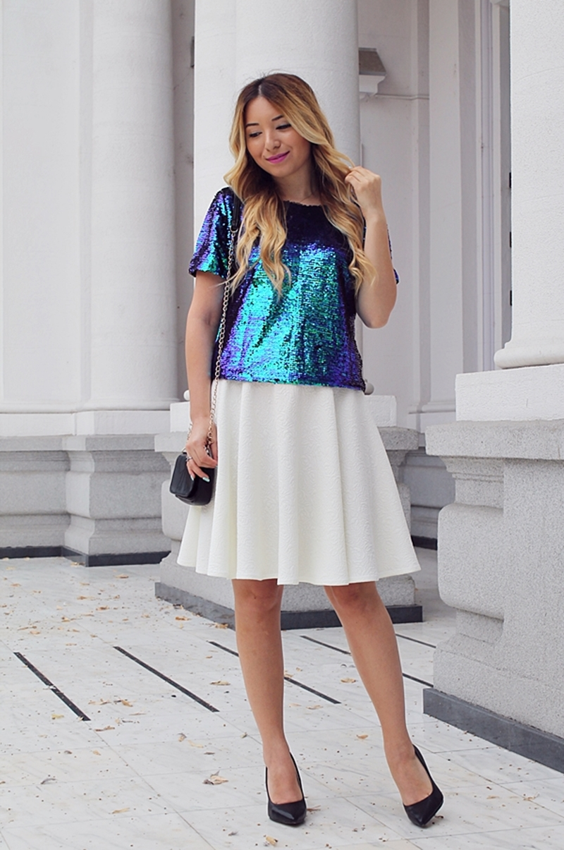 Cum purtam bluzele cu paiete: fashion blogger Andreea Ristea